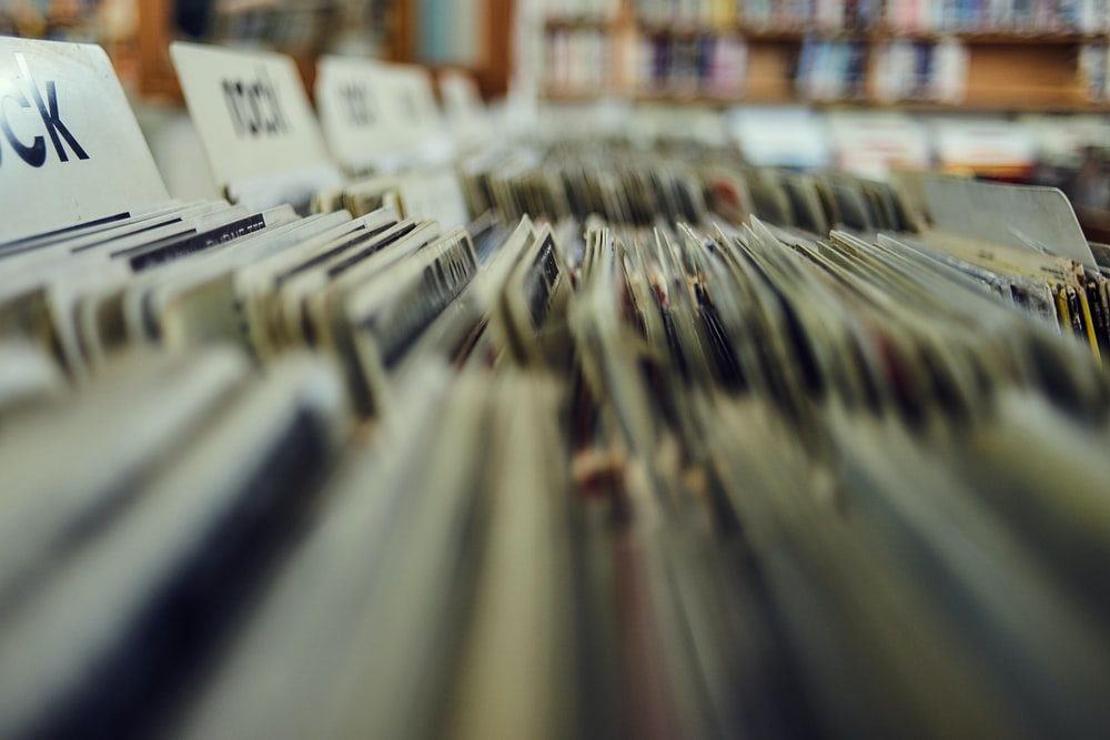 Stacks of vinyl records at a record store in Boston
