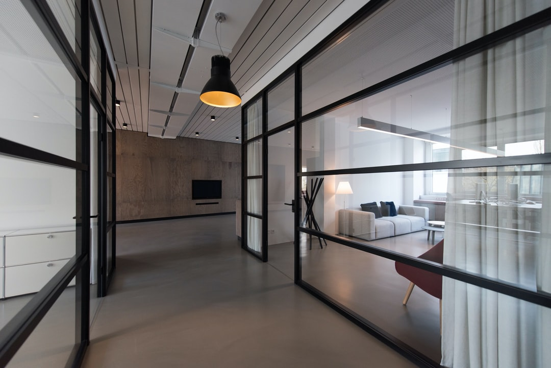 Room With Glass Divider And White Curtain Photo Free Office