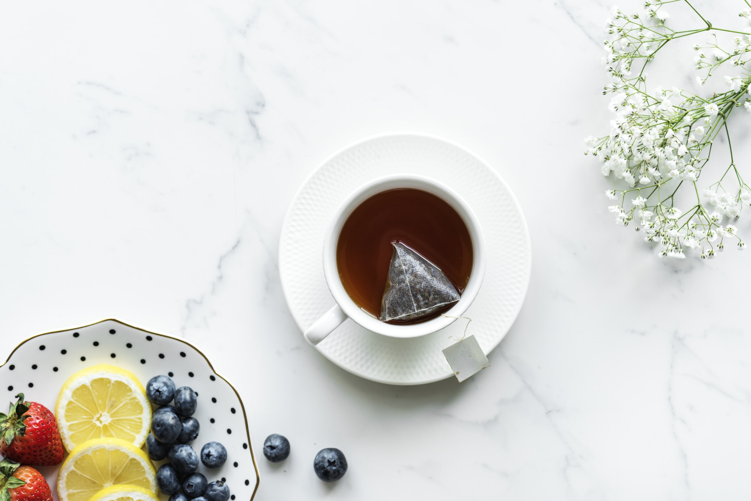 Tea Table Flatlay And Fruit Hd Photo By Rawpixel