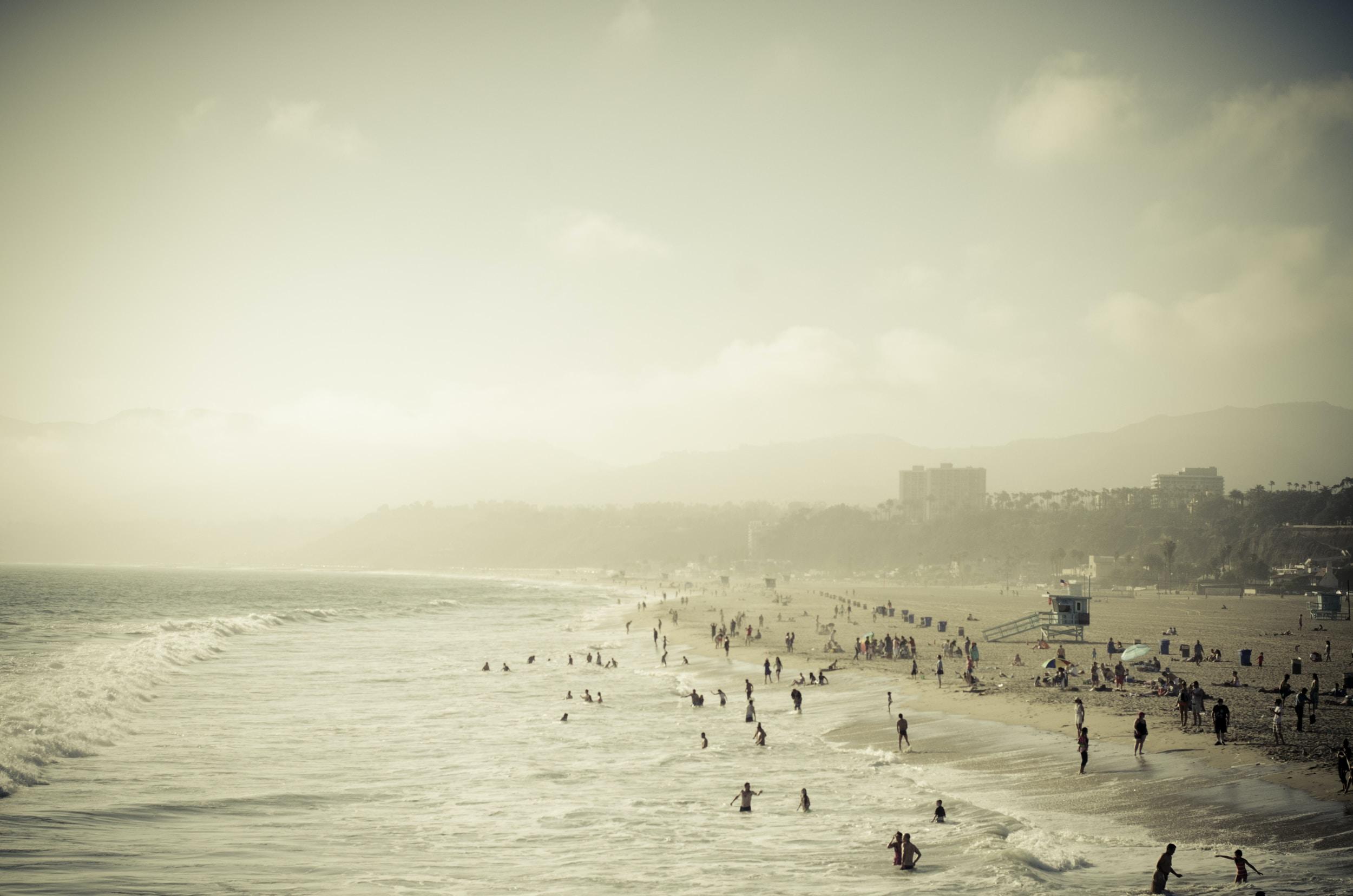 Crowded Santa Monica sand beach