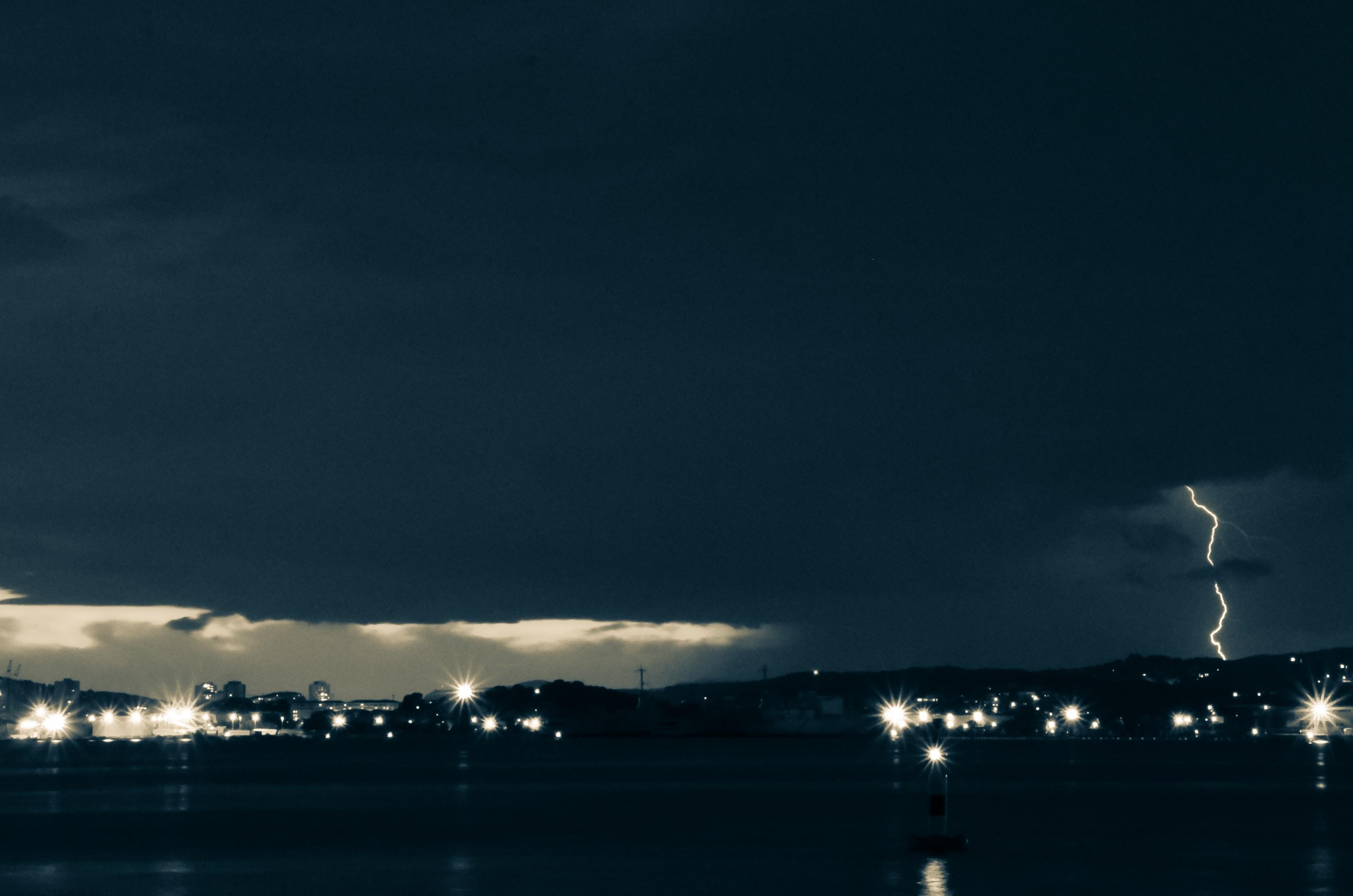 lightning on city lights