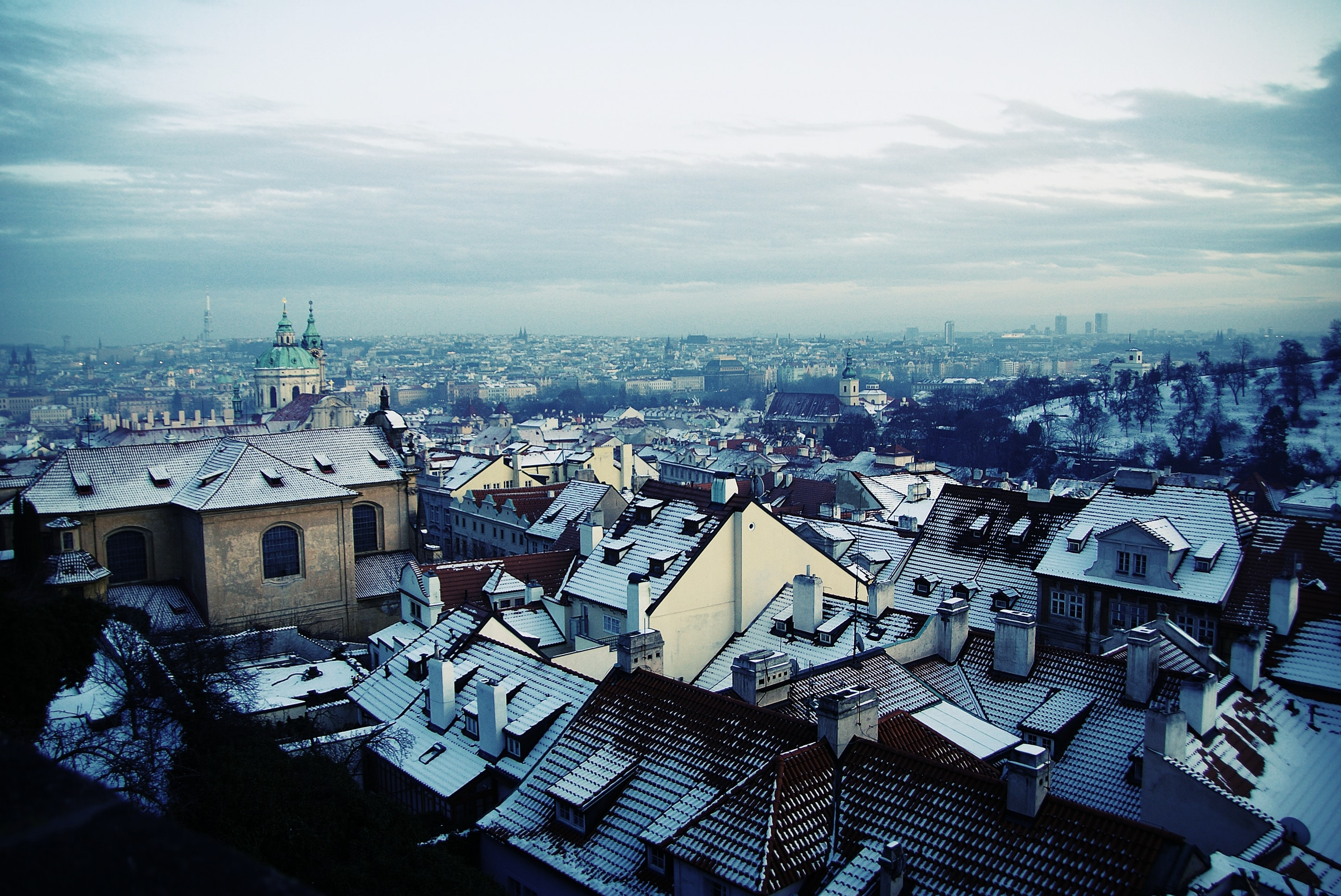 Rooftops of different buildings and architecture in the city