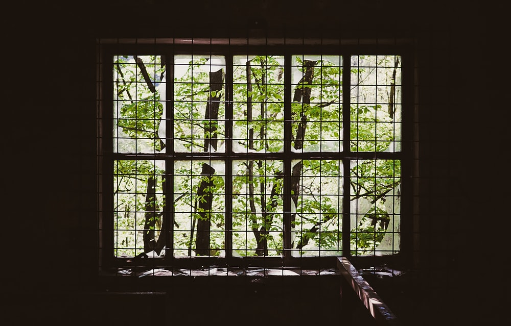 brown metal window grill
