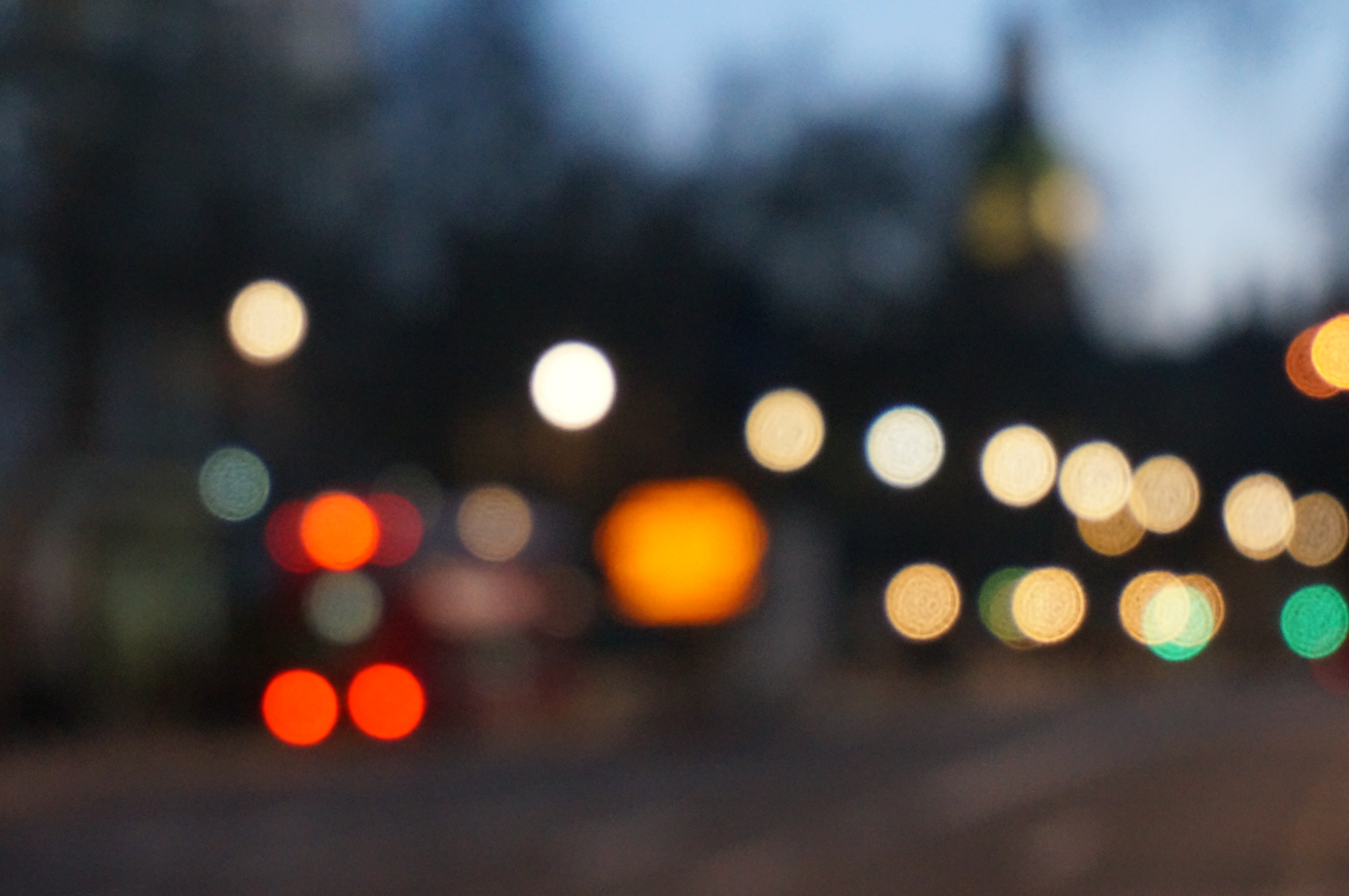 An abstract image created using street lights and a bokeh effect
