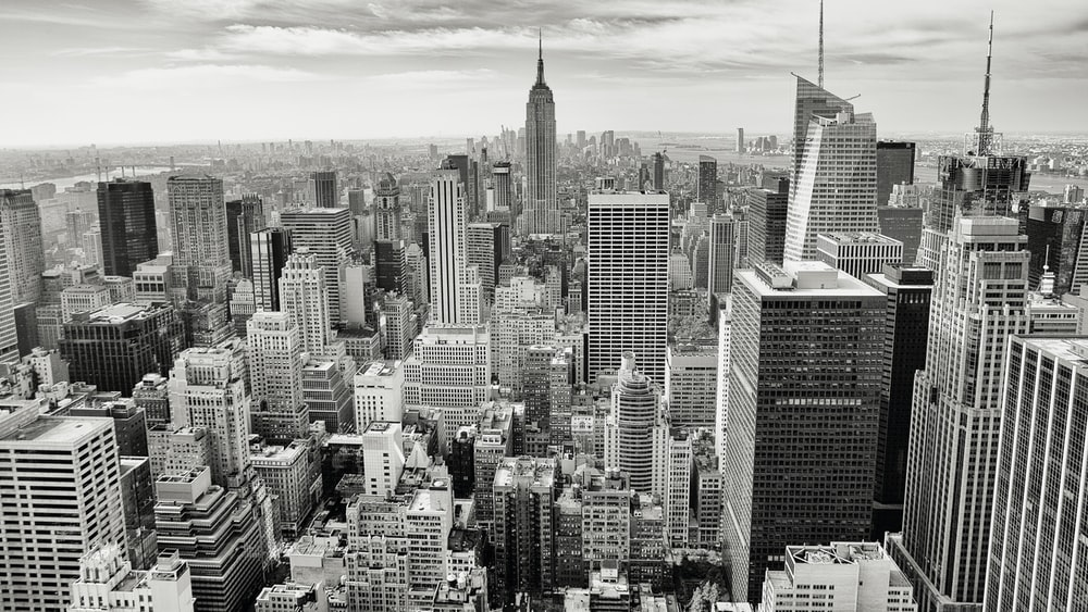 grayscale photography of New York city