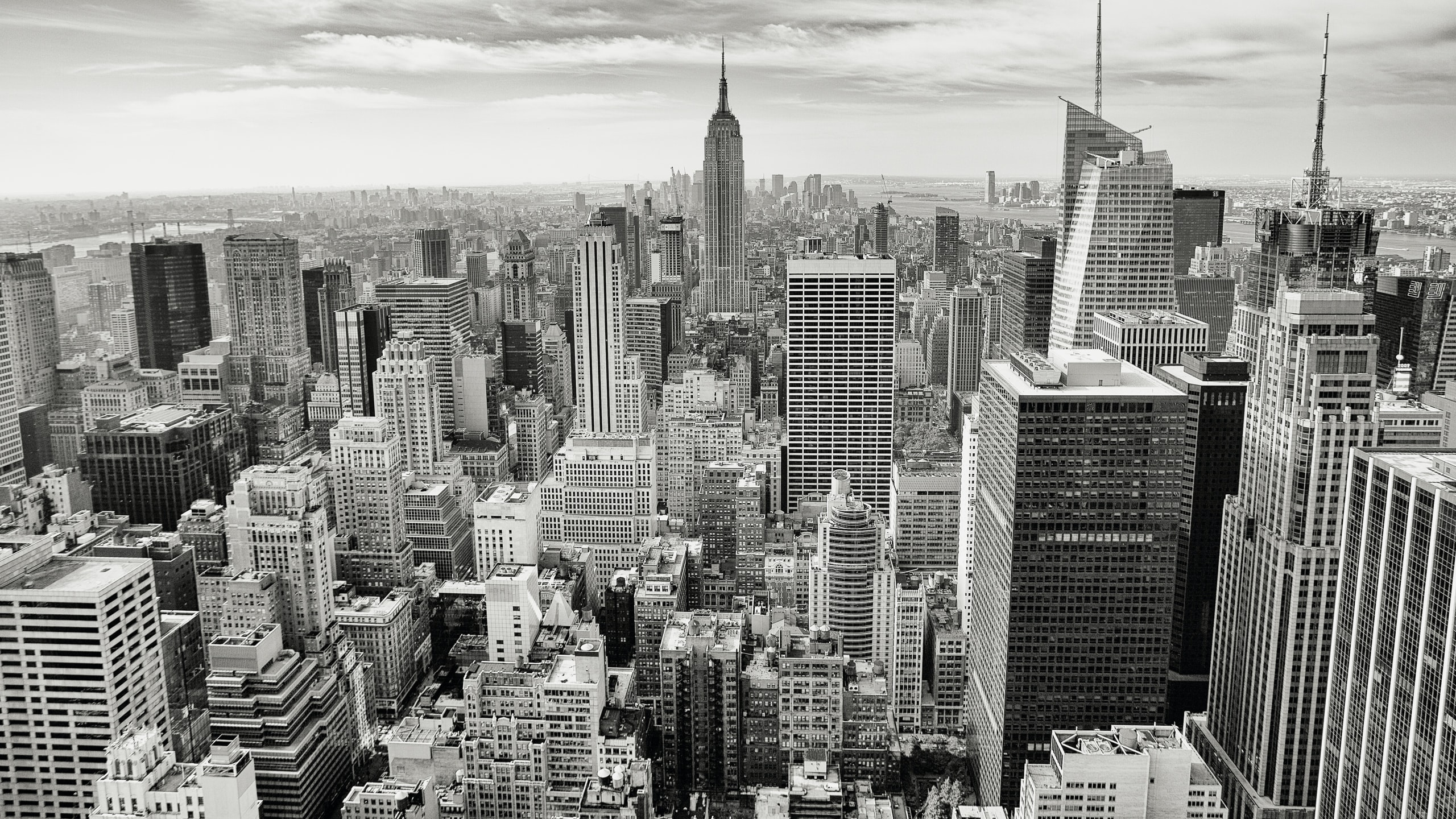 Black and white photo of the downtown New York City skyline from Top of the Rock