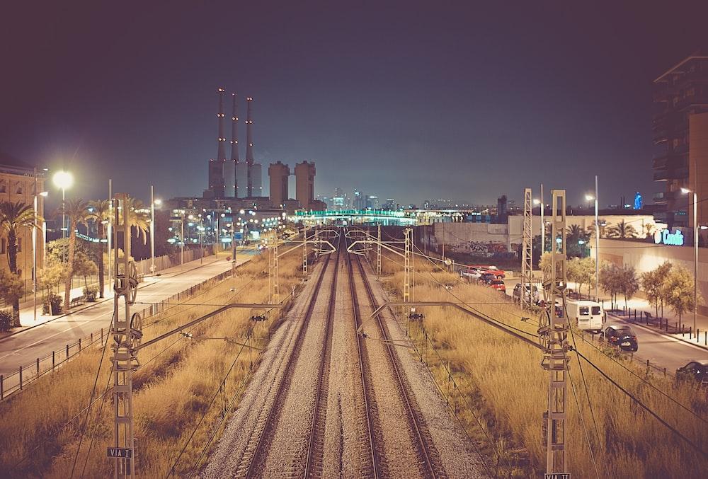 train railways across city building