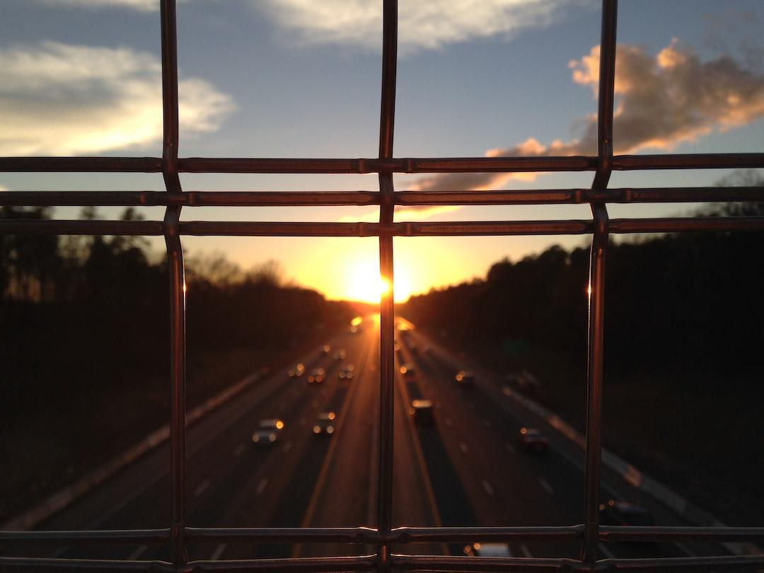 Sunset on the American Tobacco Trail I-40 Pedestrian Bridge in Durham, North Carolina