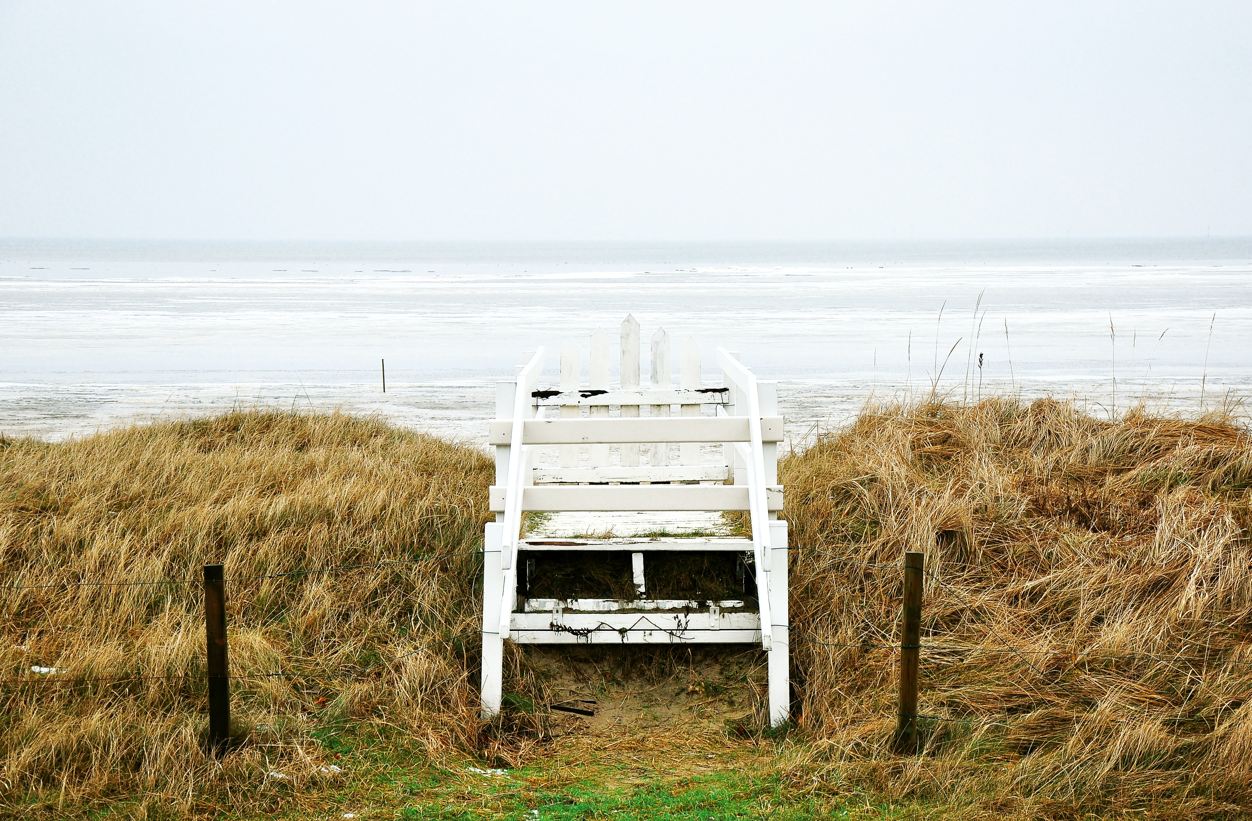 white wooden chair near body of water