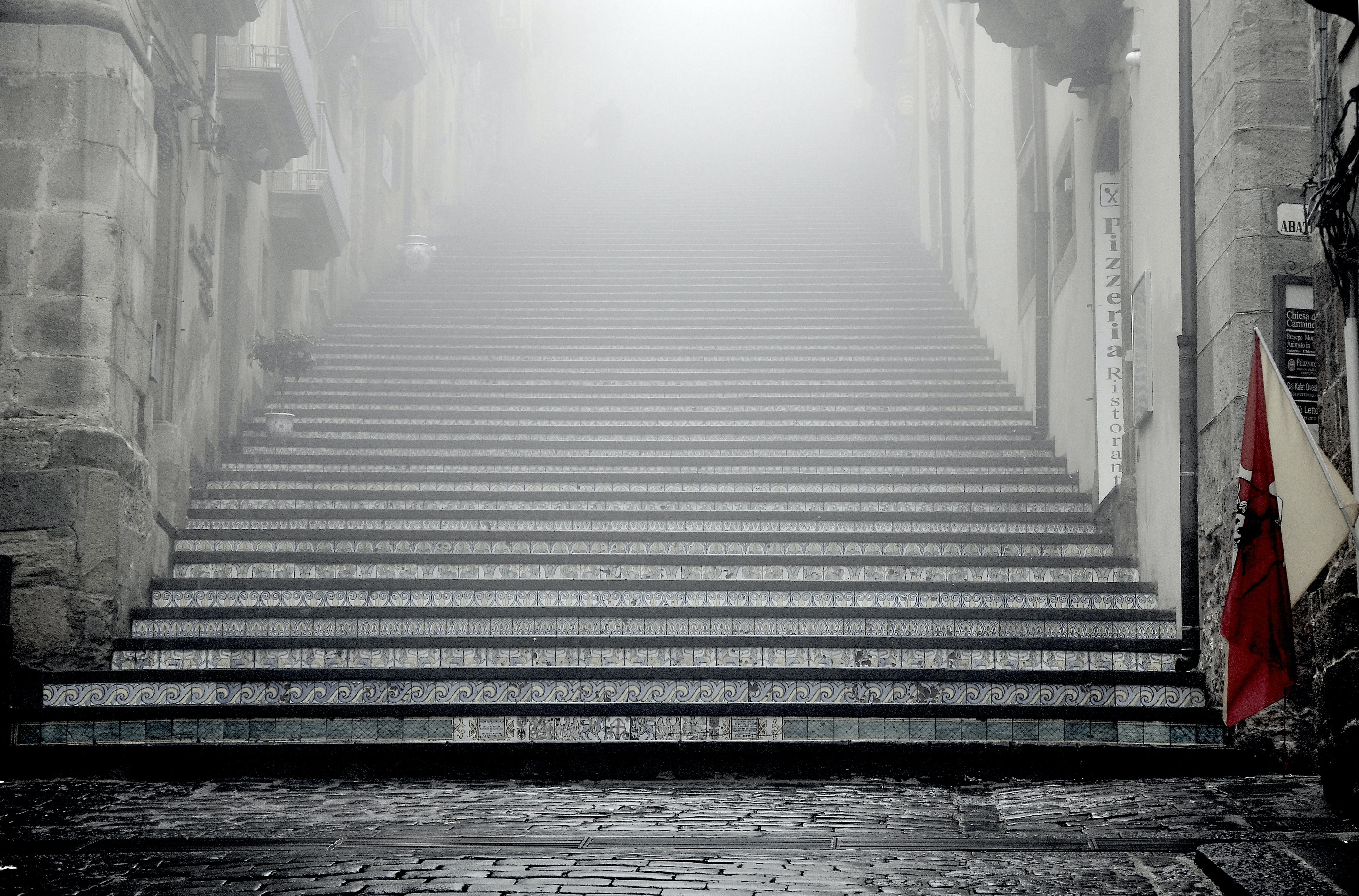 A moody and foggy day at Scala SS. Maria del Monte, Caltagirone staircase