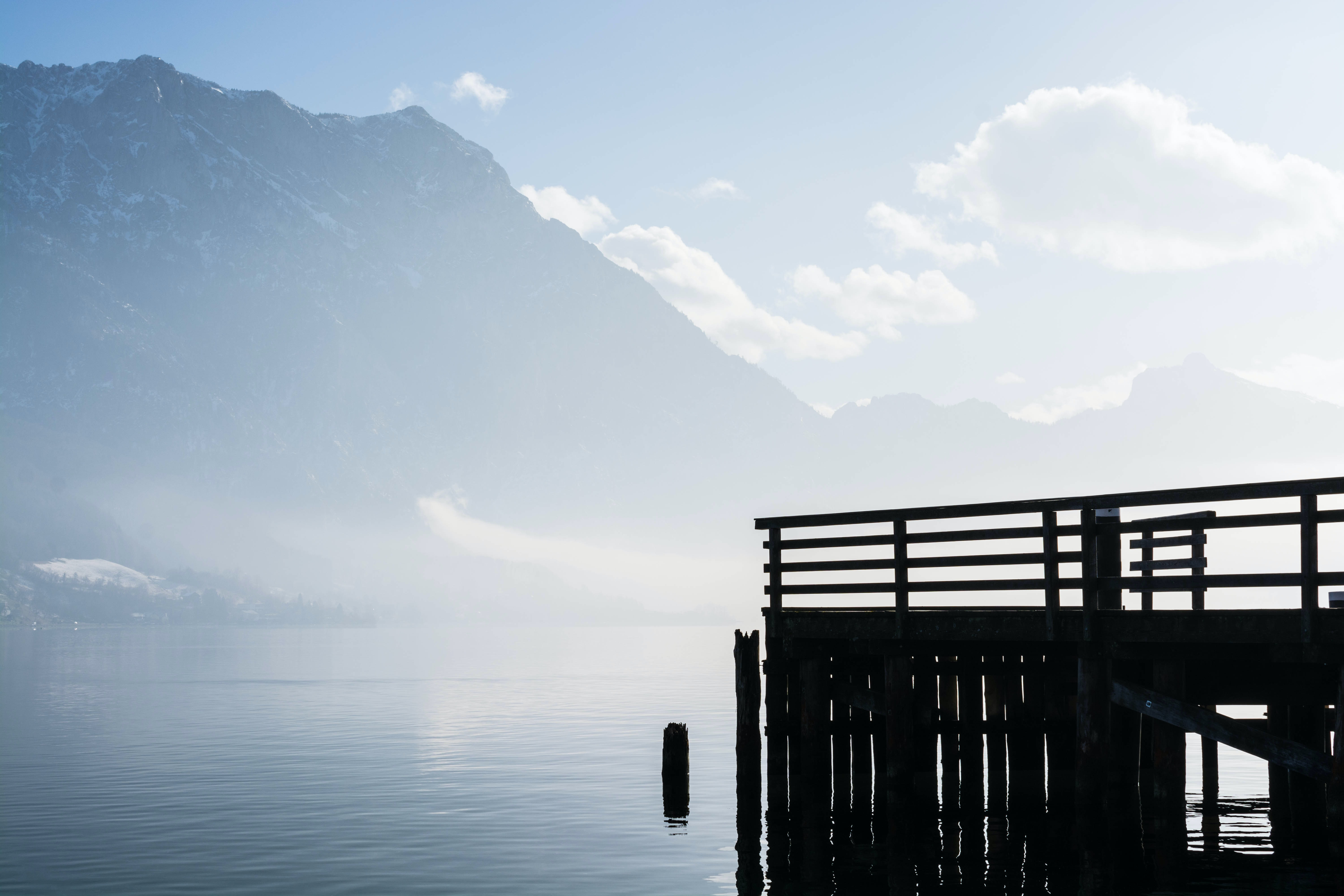 A pier in Toskana Park Gmunden on the water