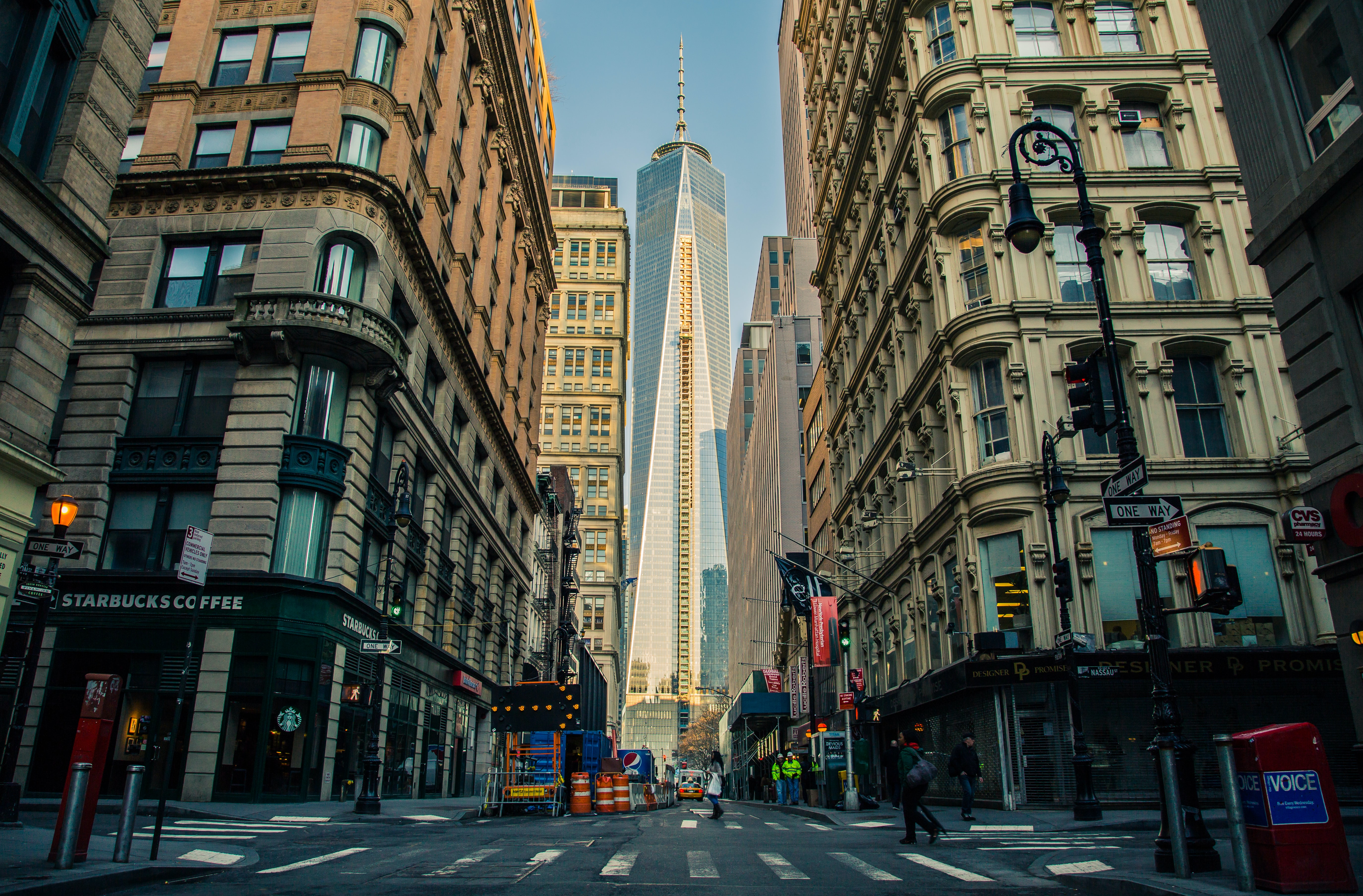 View of Freedom Tower in New York City in between buildings