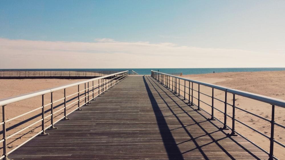 brown and gray dock and sea
