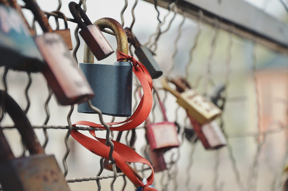 selective focus photography of padlock on chain link fence