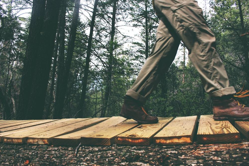 person walking on brown wooden bridge