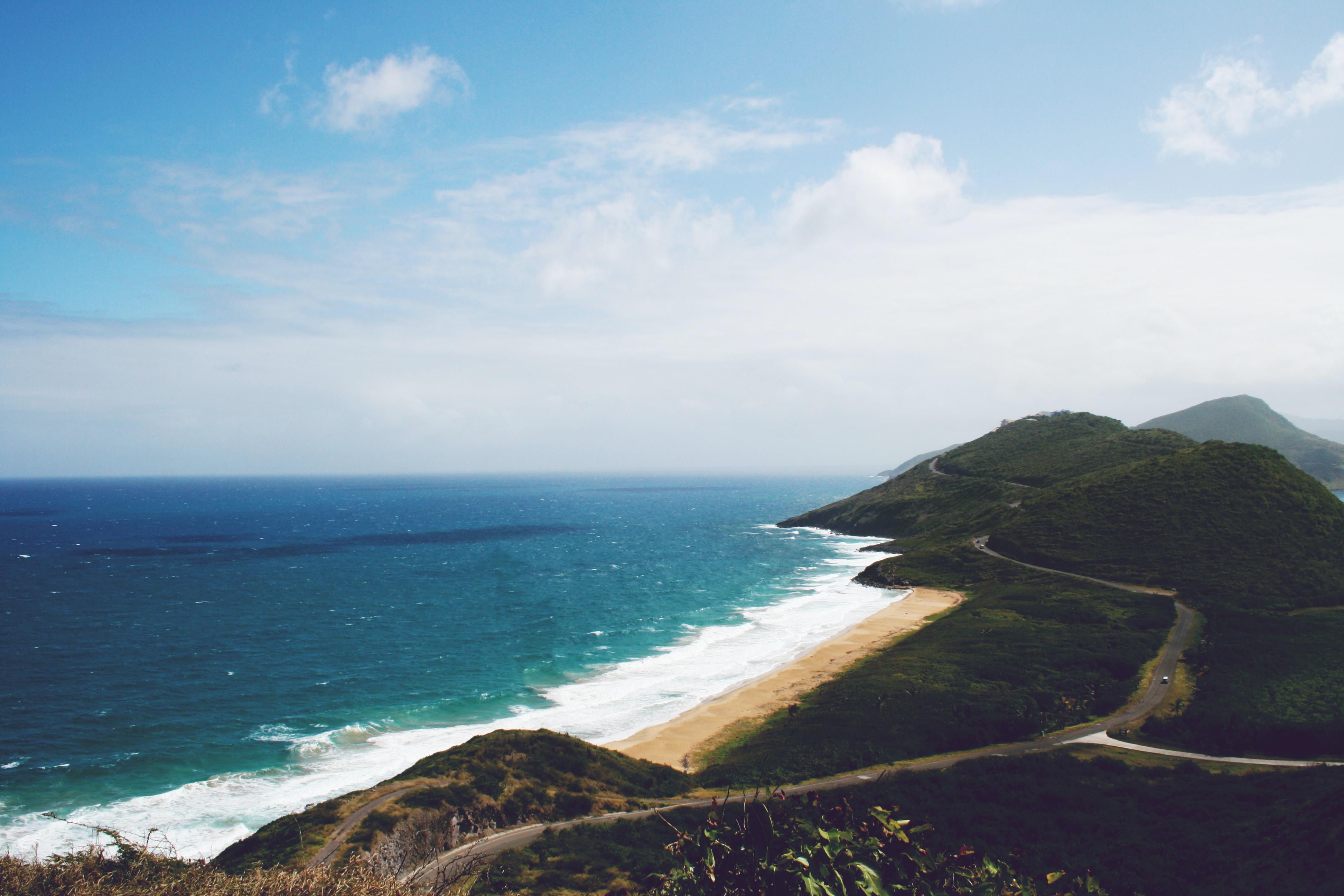 Driving along paradise, a beautiful shoreline near the sea area.