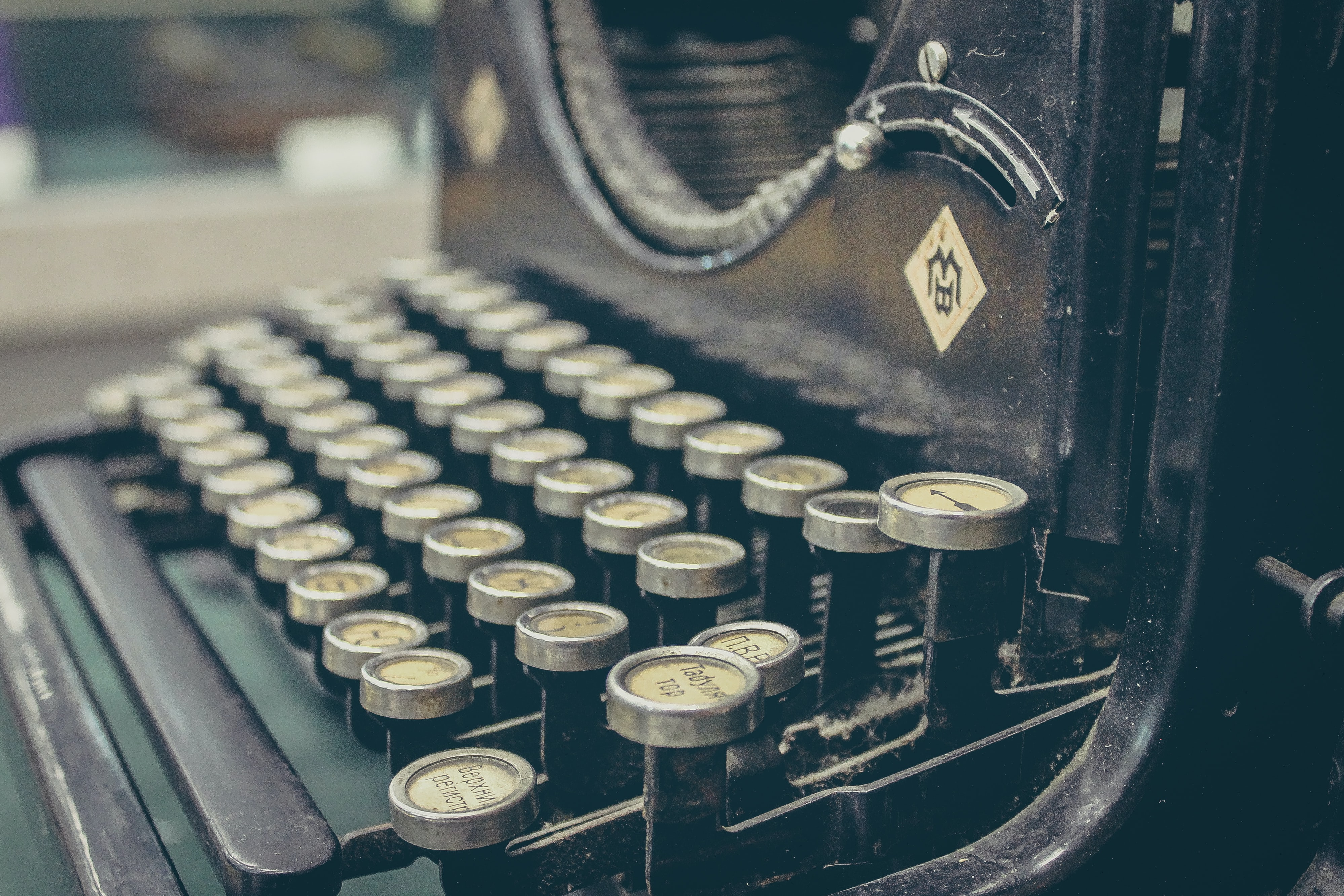 Close-up of the keyboard of a an old typewriter