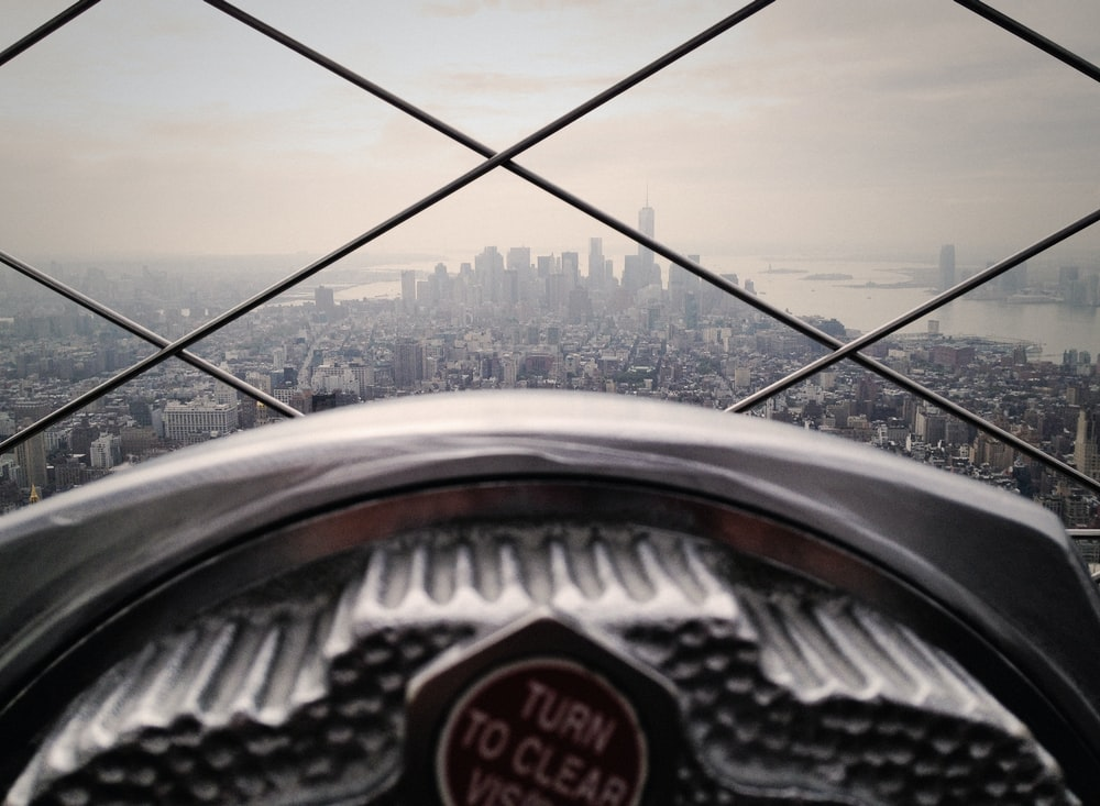 A viewfinder at the top of the Empire State Building in New York City