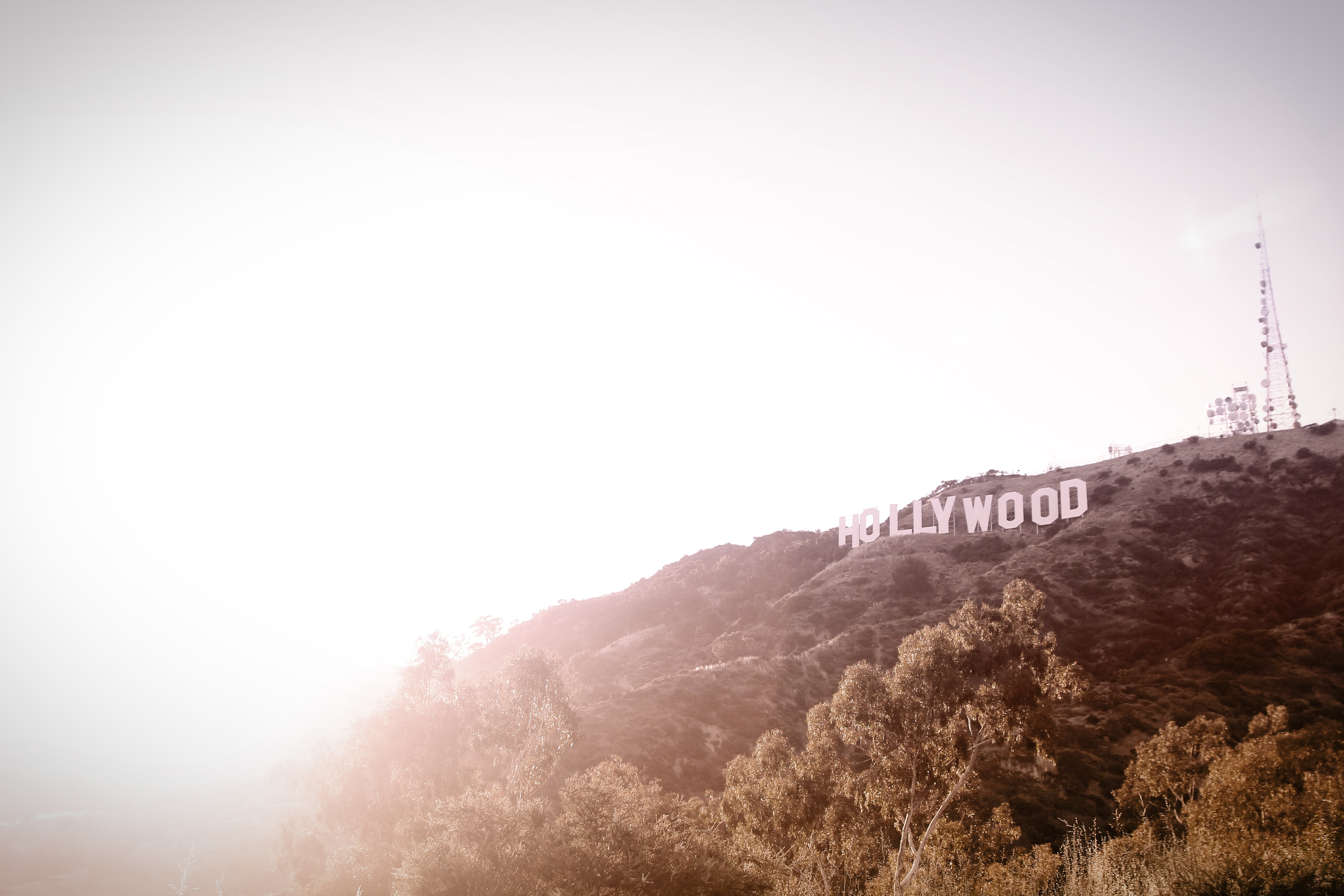 Bright white sunset next to the Hollywood sign