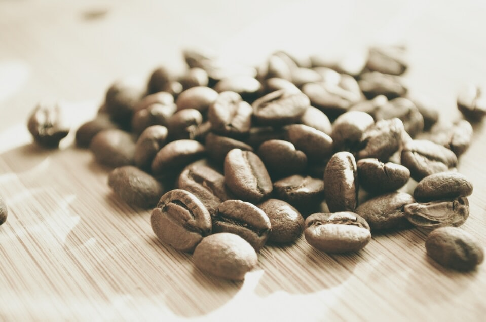 Close-up of a pile of roasted coffee beans