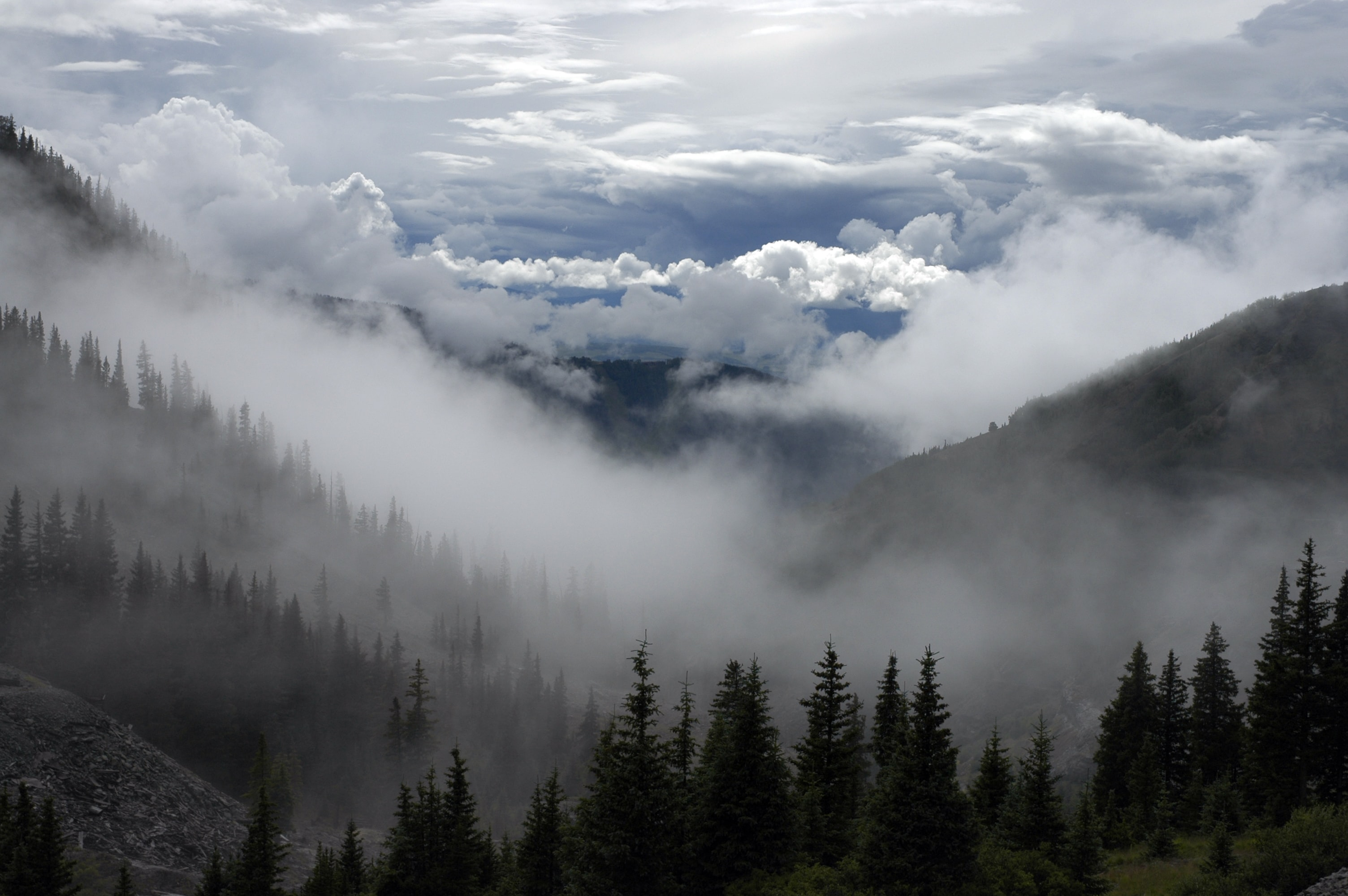 Mountainside view of fog and clouds gathering at the foot of the mountain