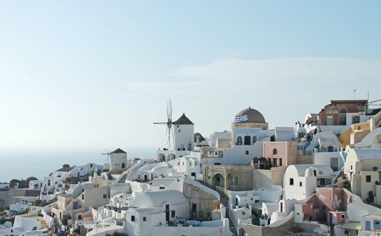 Multicolored Greece city next to the sea