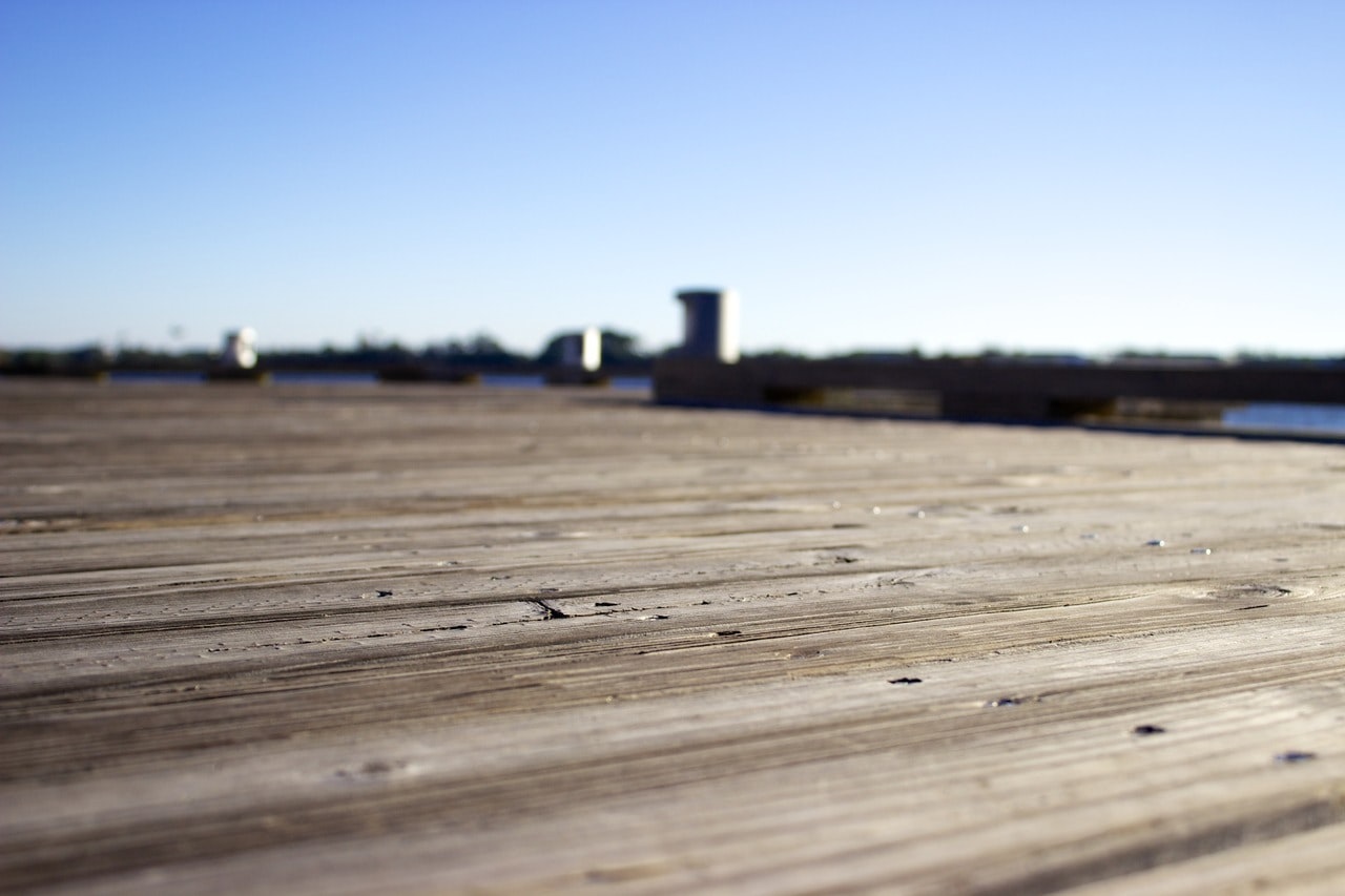 Macro shot of a boardwalk deck.