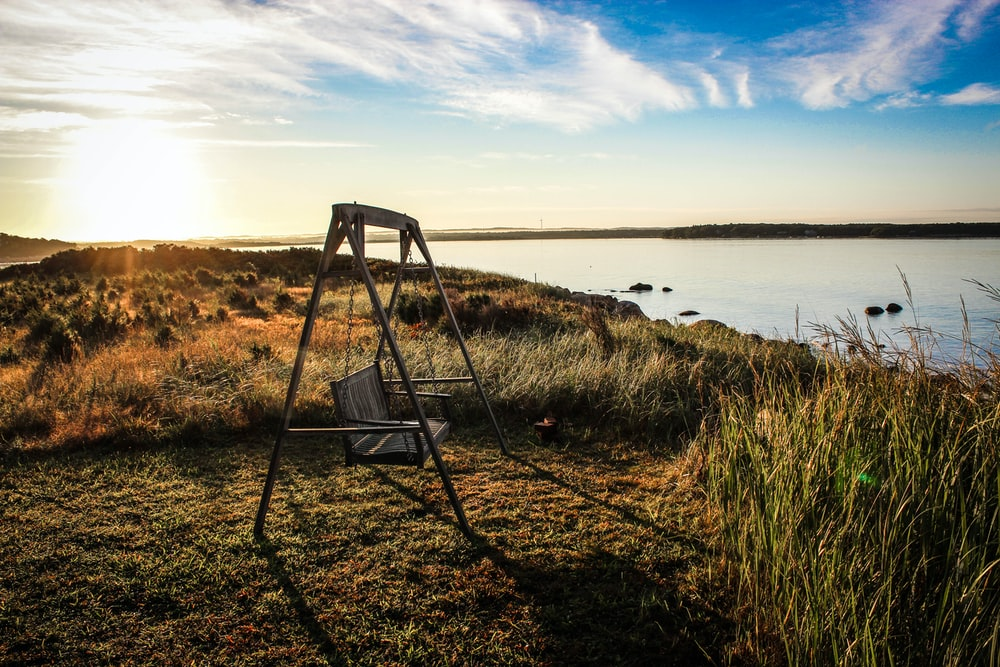 gray wooden bench swing facing body of water surrounded by grass