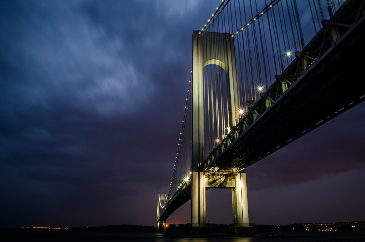 cable-stayed bridge at night time