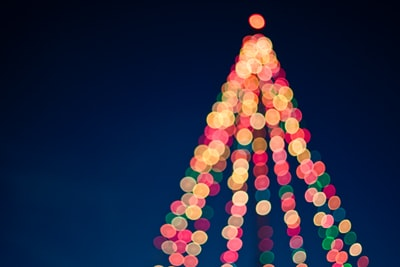 multicolored bokeh lights xmas zoom background