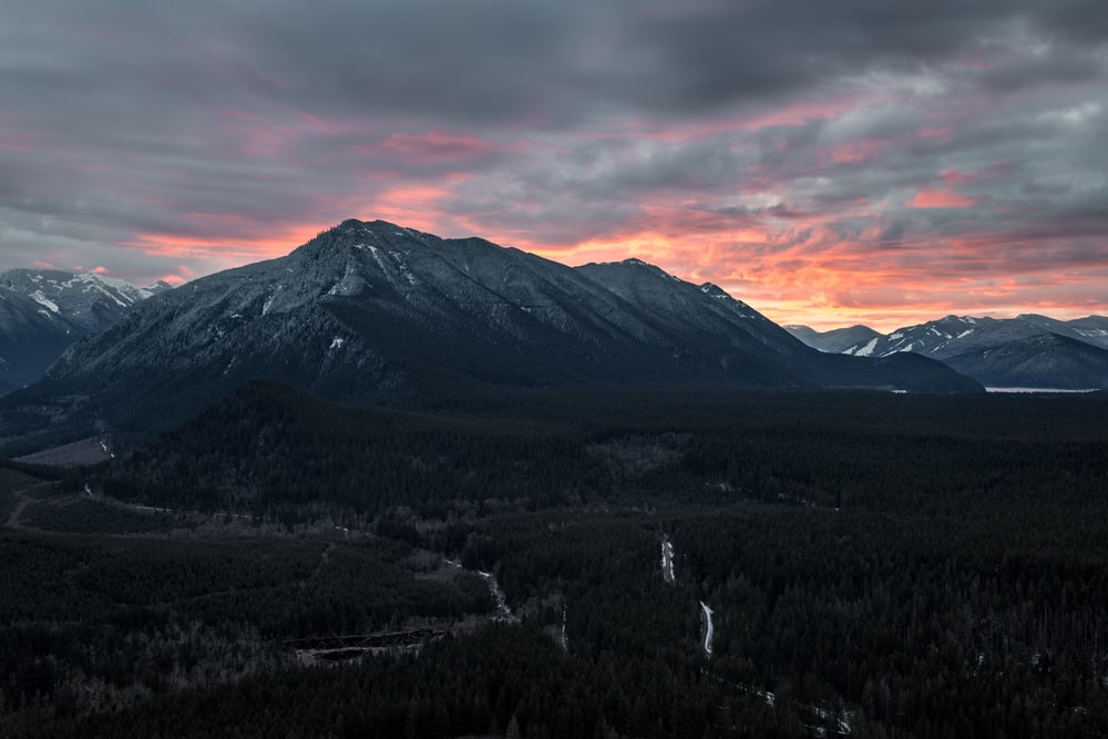 bird's eye photography of mountain ahead