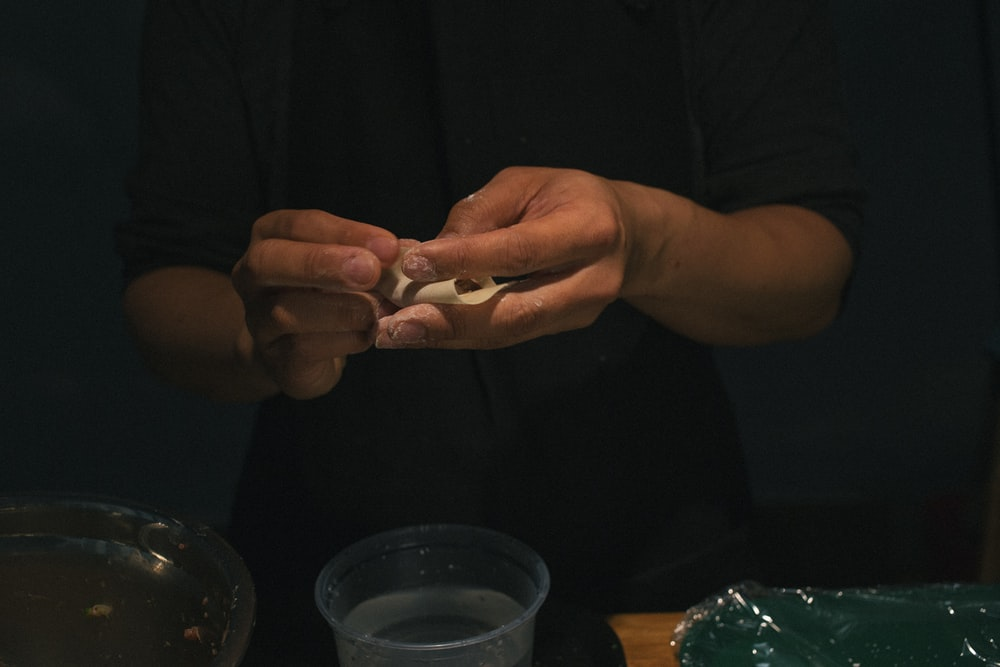 person making food
