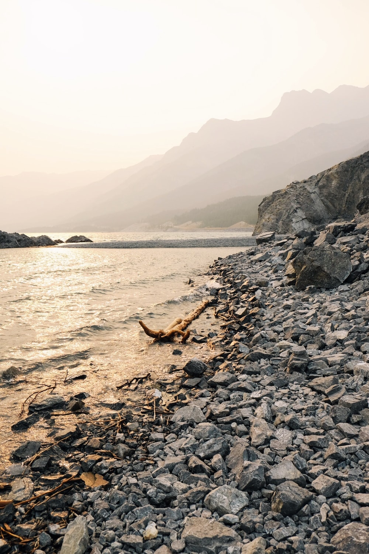 gravel shore during day