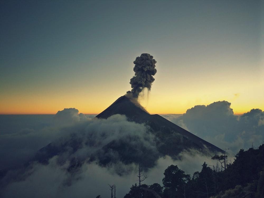 mount erupting smoke