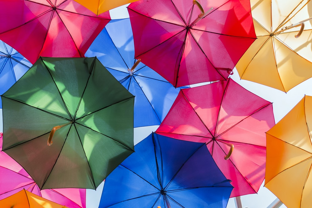 assorted-color of opened umbrellas