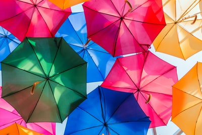 assorted-color of opened umbrellas umbrella zoom background