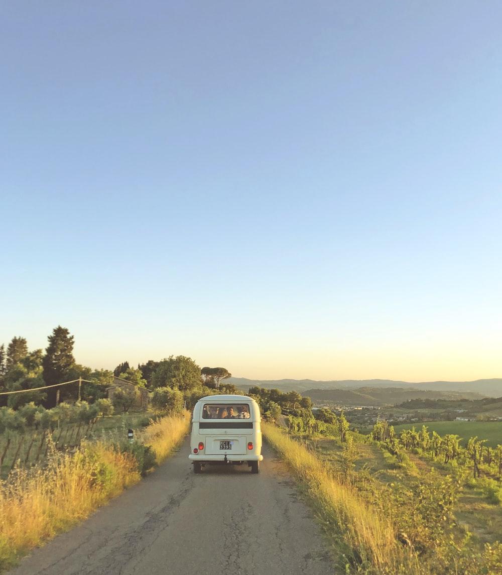 white van traveling on rough road in between green grass during sunset
