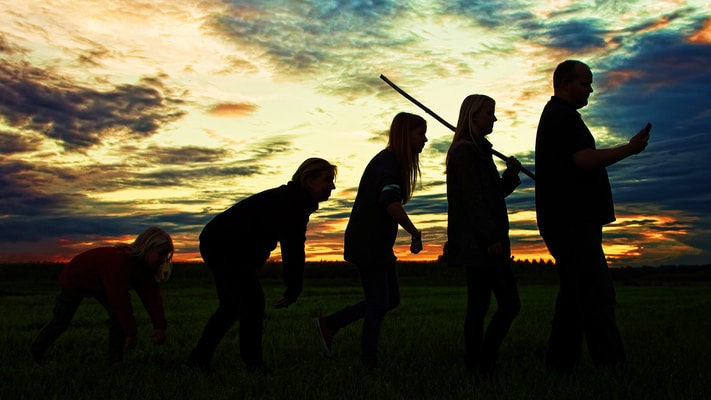 silhouette photo of group people standing on grass