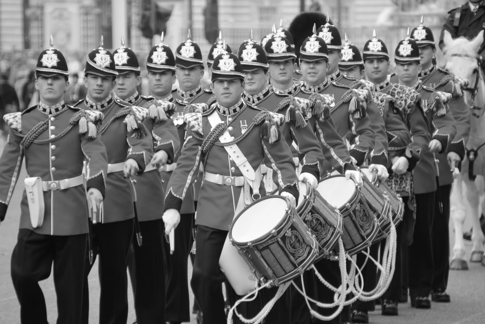 lined men with drums