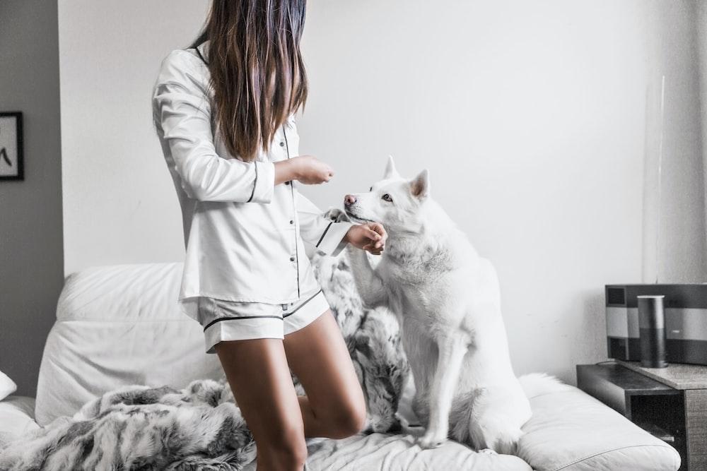 woman standing beside white dog sitting on sofa