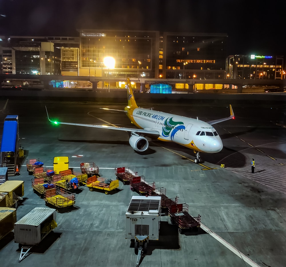 white Cebu Pacific airplane during at night