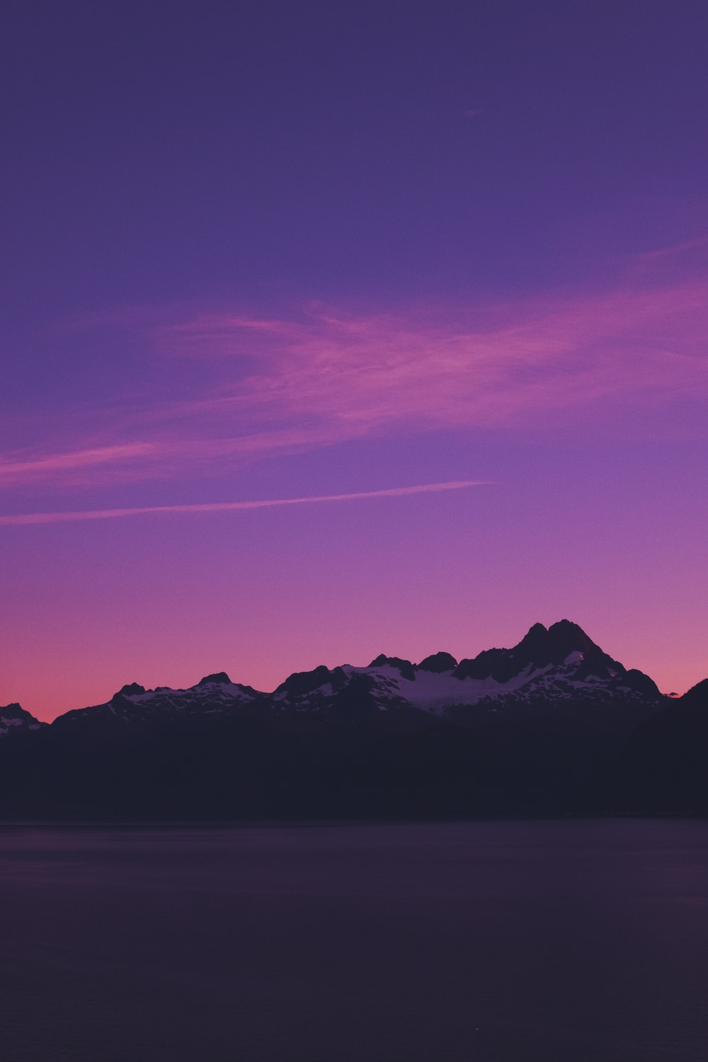 silhouette of mountain under clear sky
