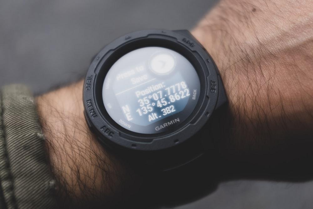 round black digital watch
