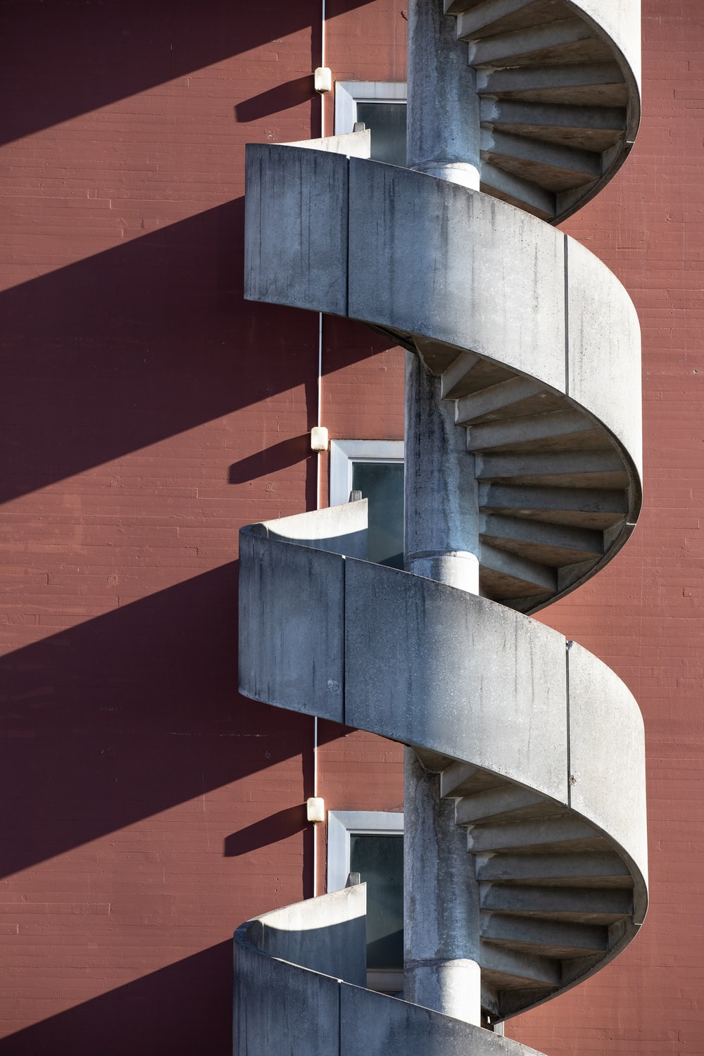 gray spiral stairs tower