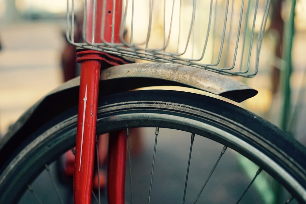 red and grey bicycle