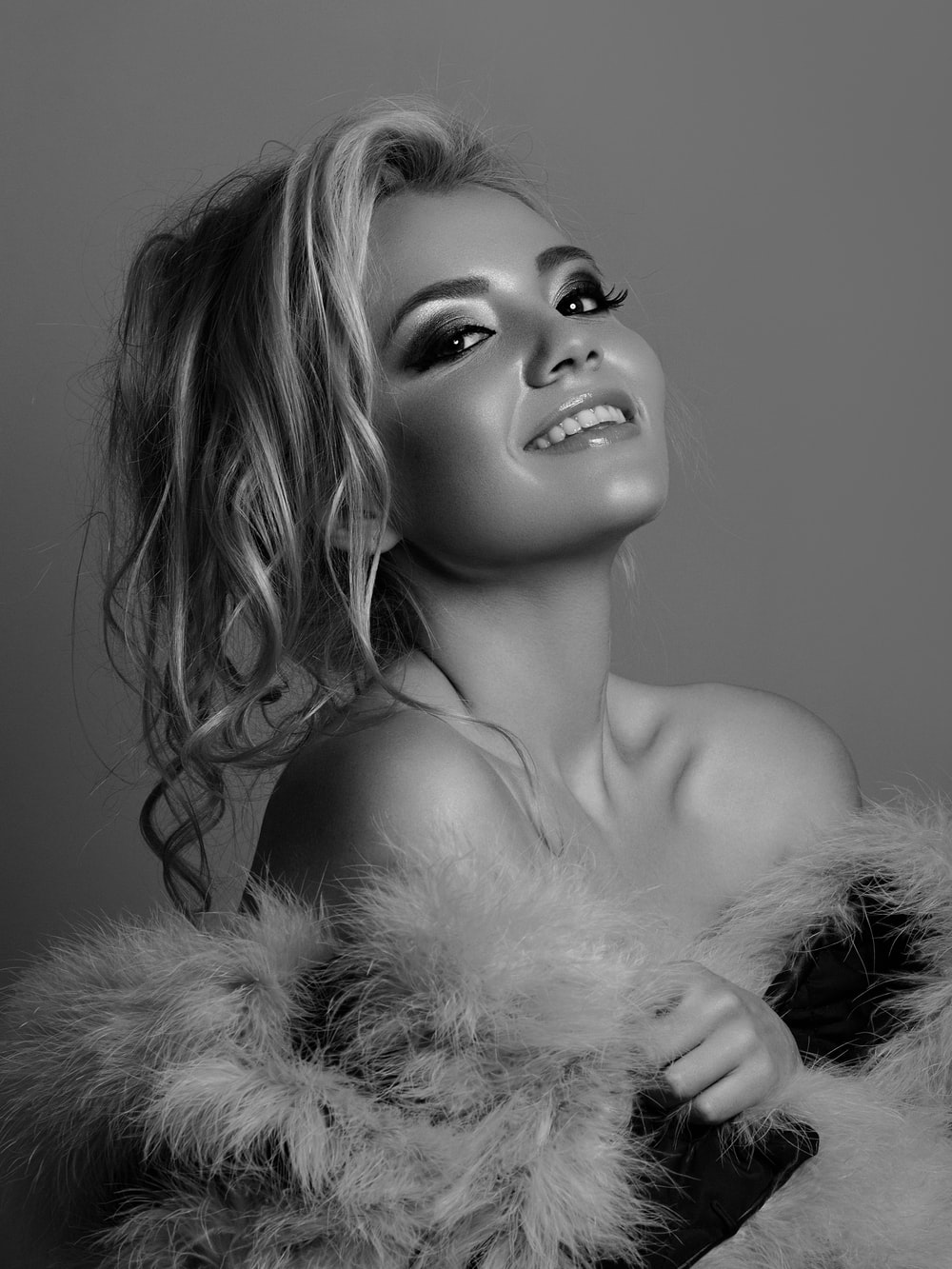 grayscale photography of fur coat