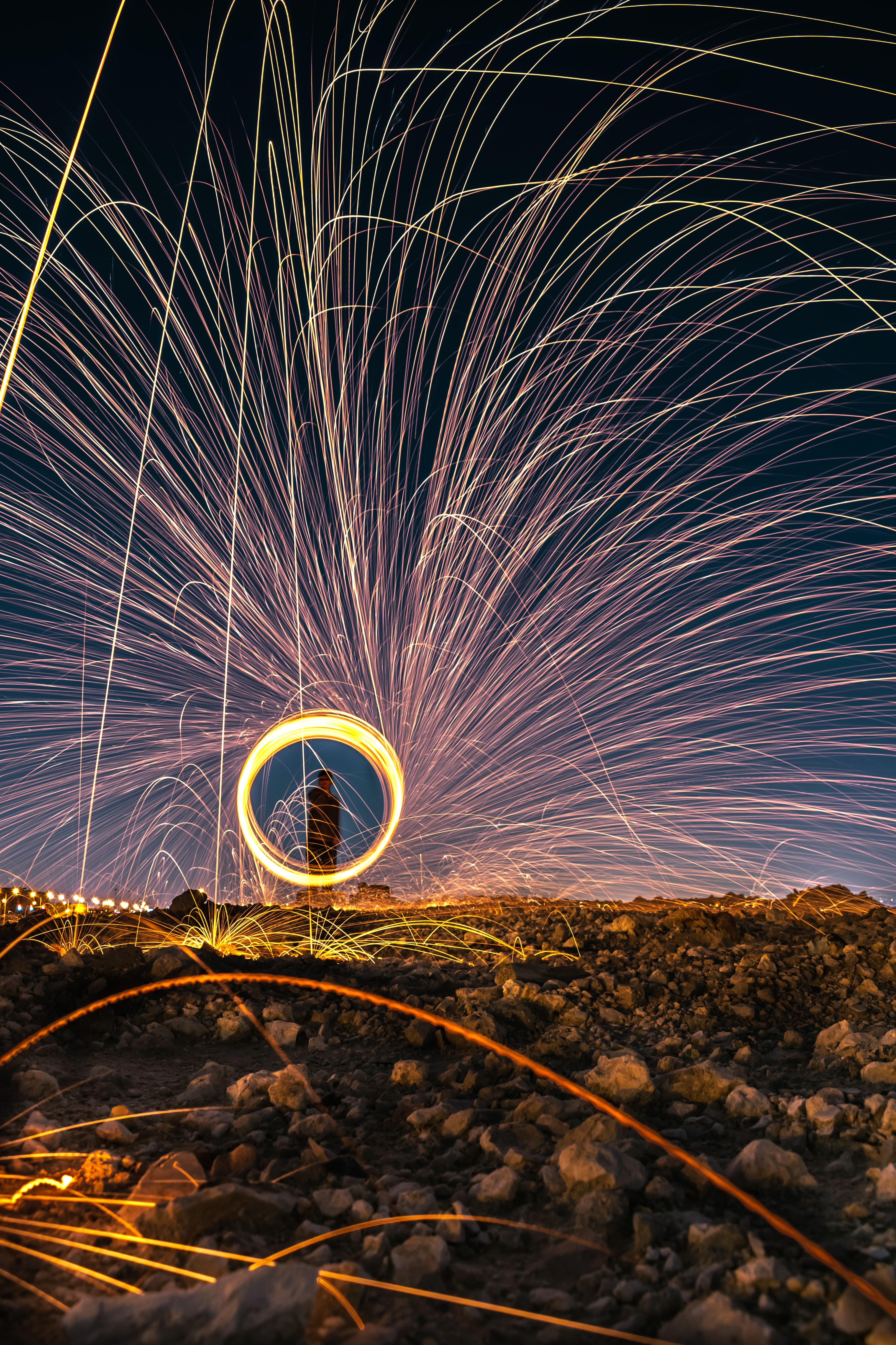 steel wool photography during night time