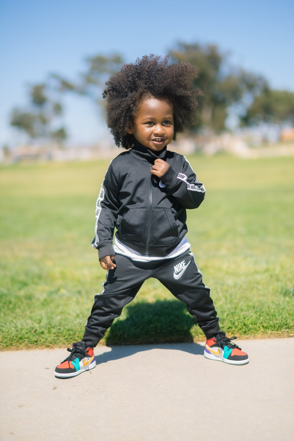 toddler in sweatsuit