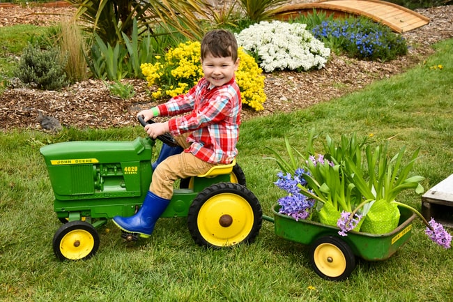 boy riding riding mower toy