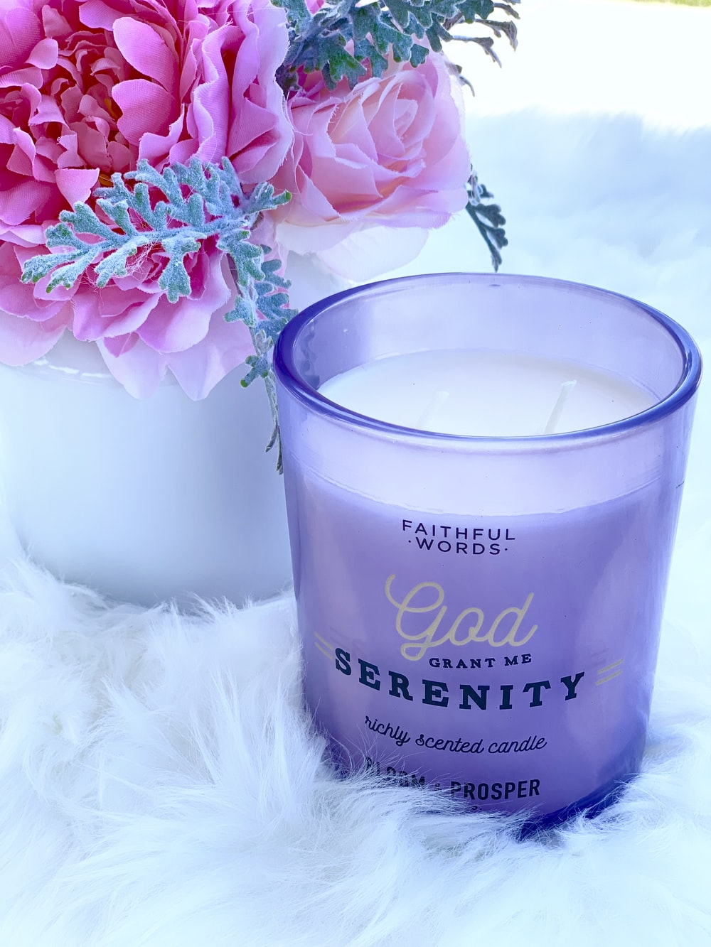 white and purple Faithful Words God grant me serenity scented candle
